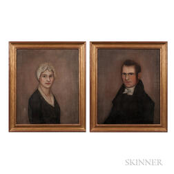 Ammi Phillips (New York/Connecticut, 1788-1865)      Portraits of Mr. and Mrs. Hardy