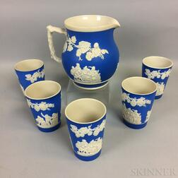 Five Copeland Spode Jasper Cups and a Pitcher