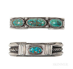 Two Navajo Silver Turquoise Bracelets