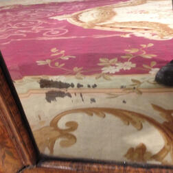William and Mary Walnut and Marquetry Pillow Frame Mirror