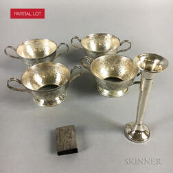 Group of Sterling Silver Cup Holders, a Weighted Bud Vase, and a Matchsafe