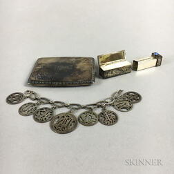 Sterling Silver Cigarette Case, Bracelet, and Lipstick Compact