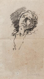 After William Morris Hunt (American, 1824-1879)      Head of a Woman