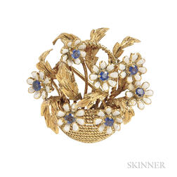 18kt Gold, Enamel, and Sapphire Brooch, Tiffany & Co.