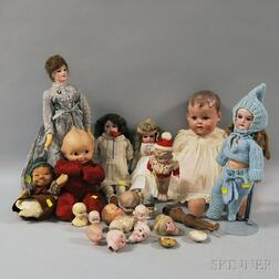 Group of Bisque and Vintage Composition Dolls