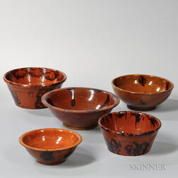 Five Manganese-decorated Redware Bowls