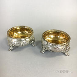 Pair of American Coin Silver Gold-wash Footed Salts