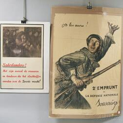 Fourteen Assorted Mostly European WWI Lithograph Posters
