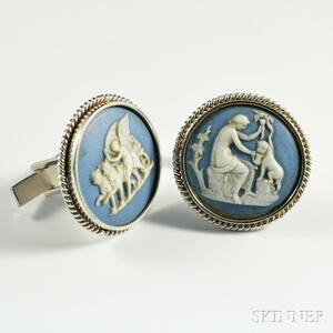 Lackritz 14kt White Gold and Porcelain Cuff Links