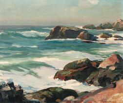 Emile Albert Gruppé (American, 1896-1978)      Rocky Coast (Possibly Bass Rocks)