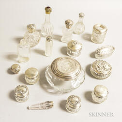 Sixteen Sterling-mounted Cut and Pressed Glass Perfumes and Dresser Boxes.
