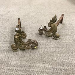 Louis XV-style Brass Andirons