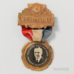 "Calvin Coolidge ""Vermonter"" Campaign Badge"