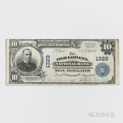 1902 The Old Lowell National Bank Plain Back $10 Note