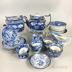 Thirty-two Staffordshire Transfer-decorated Tableware Items.     Estimate $150-250