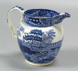 Blue and White Transfer Decorated Staffordshire Pottery Pitcher
