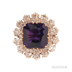 14kt Gold, Amethyst, and Diamond Brooch