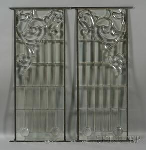 Pair of Decorative Glass Windows