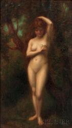 Jean Jacques Henner (French, 1829-1905)      Standing Nude in a Landscape