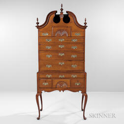 Carved Cherry Scroll-top High Chest of Drawers