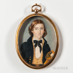 Attributed to Charles F. Berger (act. Philadelphia, Mid-19th Century)      Miniature Portrait of an Officer with a Sword