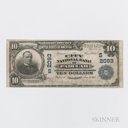 1902 The City National Bank of Paducah Plain Back $10 Note