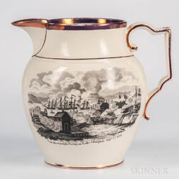 Pink Lustre and Black Transfer-printed Commemorative Jug