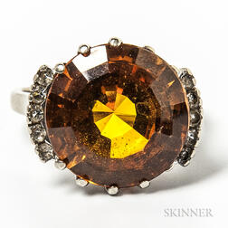 10kt White Gold and Citrine Cocktail Ring