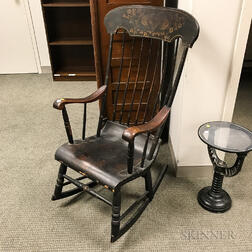 Black-painted and Stenciled Boston Rocker