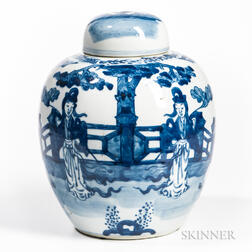 Blue and White Covered Ginger Jar