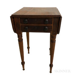 Federal Walnut Two-drawer Drop-leaf Worktable