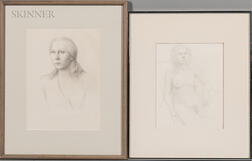 William H. Bailey (American, b. 1930)      Two Framed Figure Drawings:  Portrait of a Young Woman