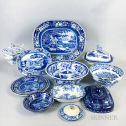 Eleven Pieces of Staffordshire Blue and White Transfer-decorated Tableware.     Estimate $200-250