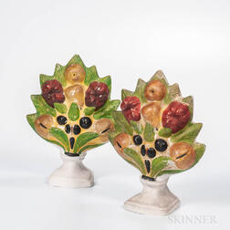 Pair of Polychrome-decorated Chalkware Fruit and Flowers Garnitures