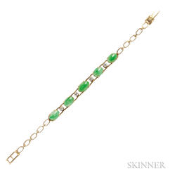 18kt Gold, Jade, and Diamond Bracelet