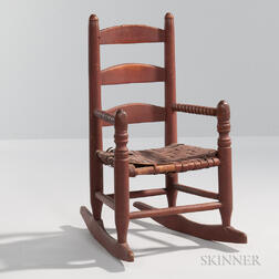 Red-painted Child's Rocking Chair