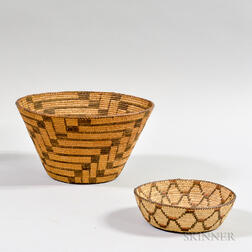 Two Pima Coiled Baskets