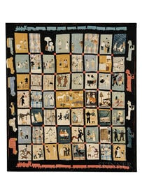 "Pieced and Applique Folk Art Quilt ""Scenes of American Life,"""
