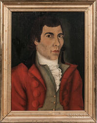 Attributed to Reuben Moulthrop (Connecticut, 1763-1814)      Portrait of a Gentleman in a Red Coat
