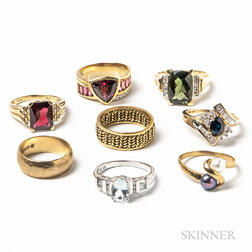 Eight 14kt Gold Rings