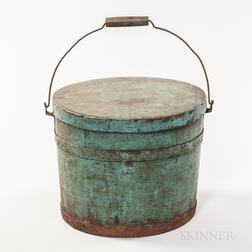 Blue/Green-painted Pail with Lid