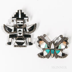 Two Zuni Inlay Pins