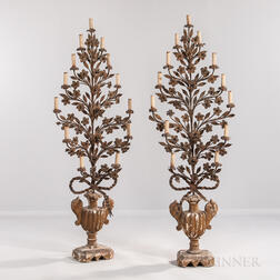 Pair of Wrought Iron Floor-standing Candelabra