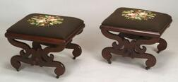 Pair of Carved Curule Mahogany Stools