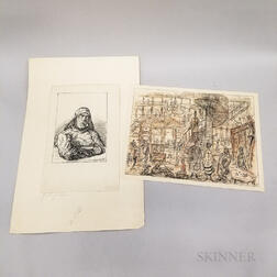 Alfred Kubin (Austrian, 1877-1959)      Two Works on Paper:   Seemann