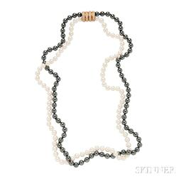 18kt Gold, Diamond, Cultured Pearl, and Hematite Necklace