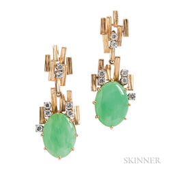 18kt Gold, Jade, and Diamond Earrings