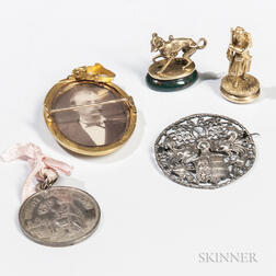 Five Small Continental Silver and Gold Items
