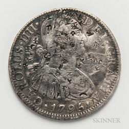 Chopmarked 1795 Mexican Pillar 8 Reales