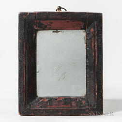Small Red-stained Carved Frame Mirror